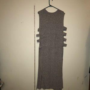 Tops - Long Grey Tunic W/ side cutouts,